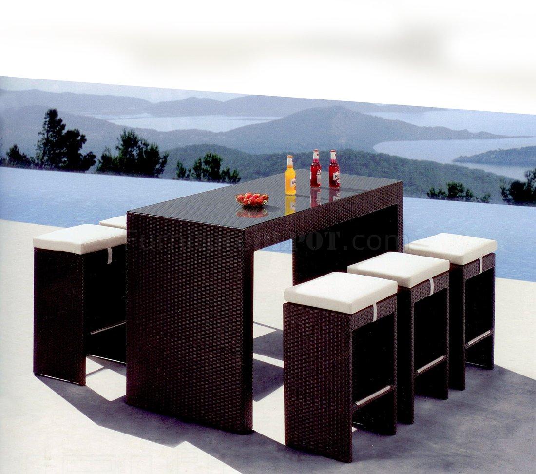 Black Weave Modern 7pc Outdoor Bar Dinette Set