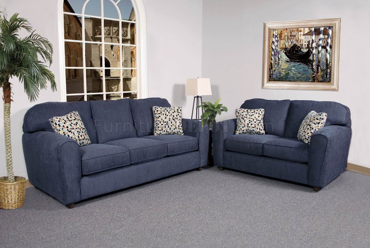 Blaze Navy Fabric Modern Sofa Loveseat Set W Options