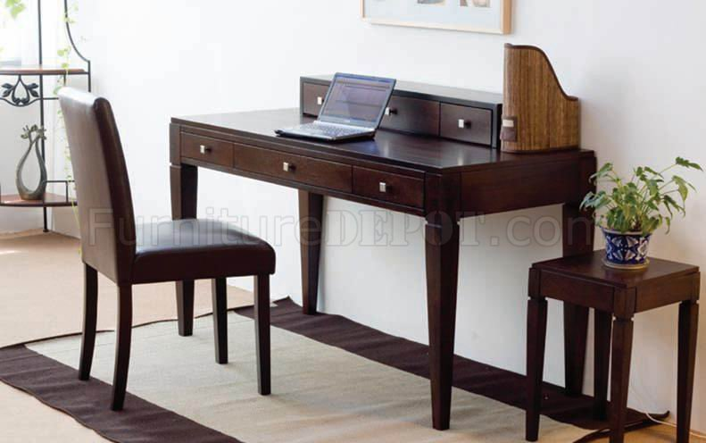 French Walnut Finish Modern Writing Desk W Chair