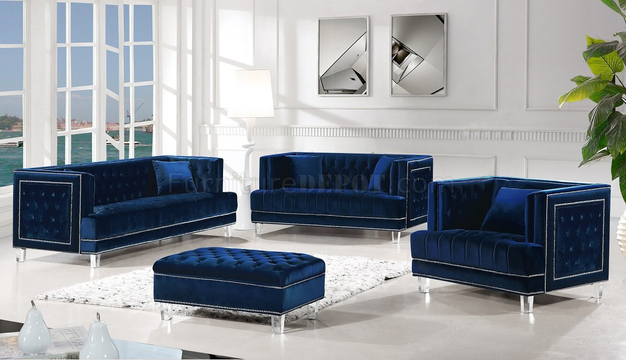 Lucas Sofa 609 In Navy Velvet Fabric By Meridian W Options