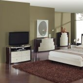 Beige & Wenge Two-Tone Finish Modern Bedroom w/Optional Items
