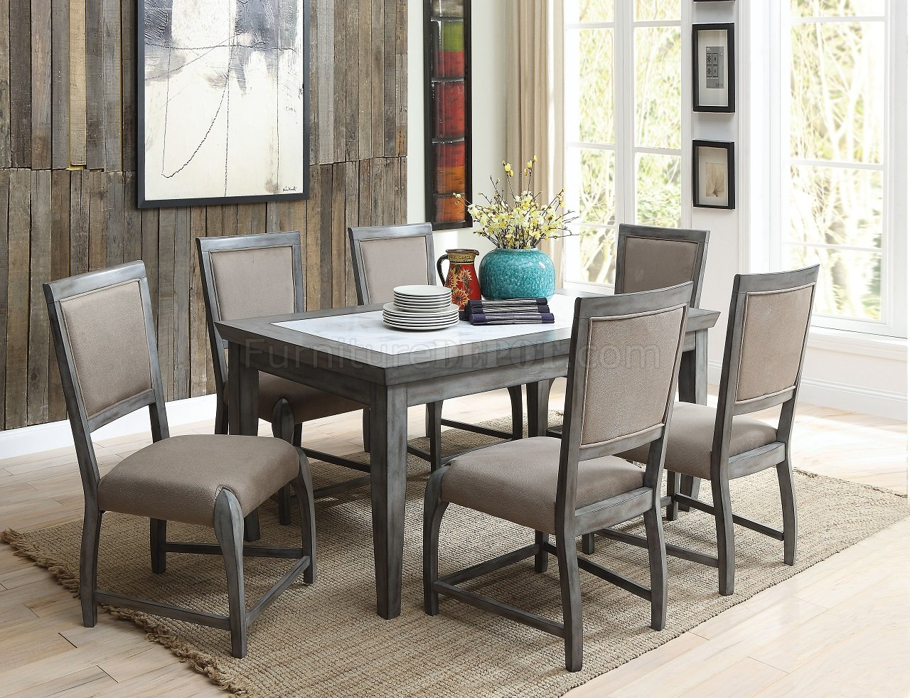 Freira Dining Set 5pc 72115 In Antique Gray By Acme W Options