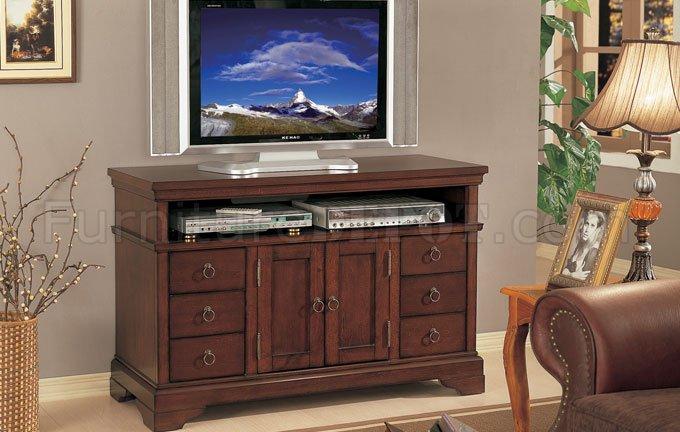 Dark Cherry Finish Plasma Or Lcd Tv Stand W Storage Cabinets