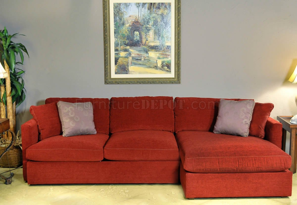 Red Chrisma Brick Fabric 2pc Modern Elegant Sectional Sofa