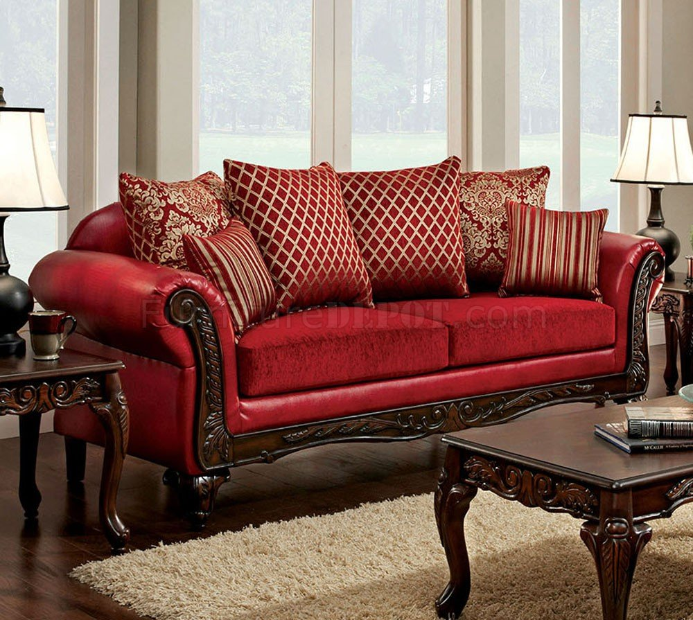 Marcus Sofa SM7640 in Red Leatherette & Fabric w/Options