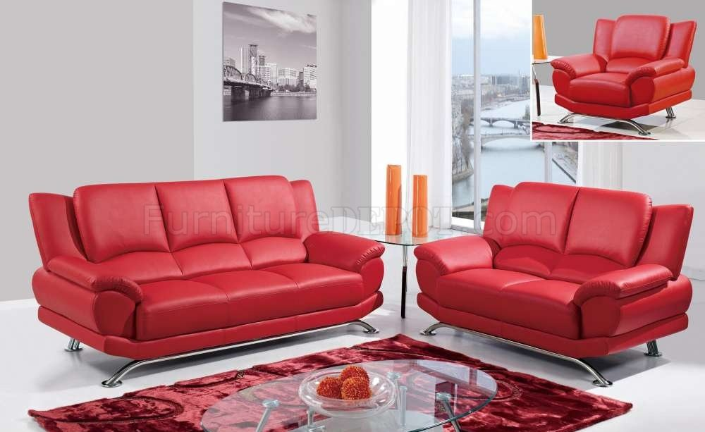 U9908 Sofa in Red Bonded Leather by Global wOptions