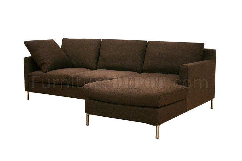Brown Twill Fabric Modern Sectional Sofa wRemovable Cushions
