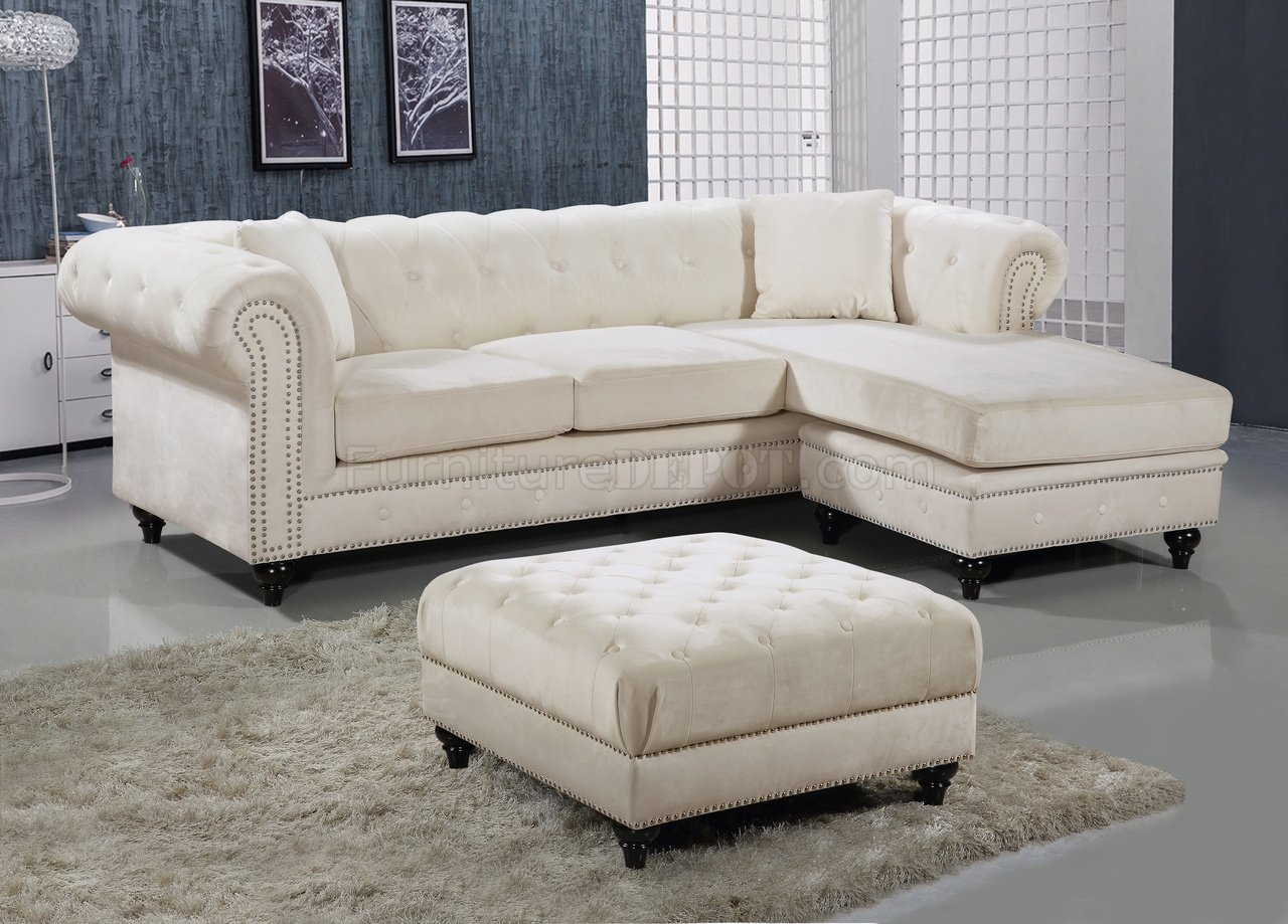 Sabrina Sectional Sofa 667 In Cream Velvet Fabric By Meridian