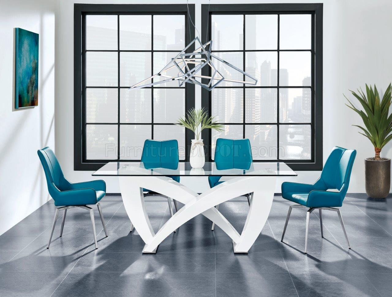 D9913dt Dining Table White By Global W Optional Turquoise