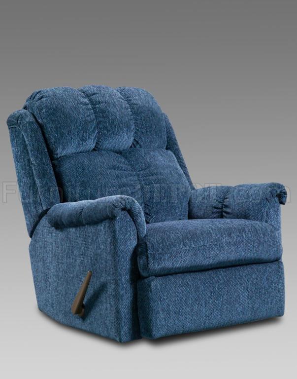 Blue Fabric Modern Elegant Rocker Recliner