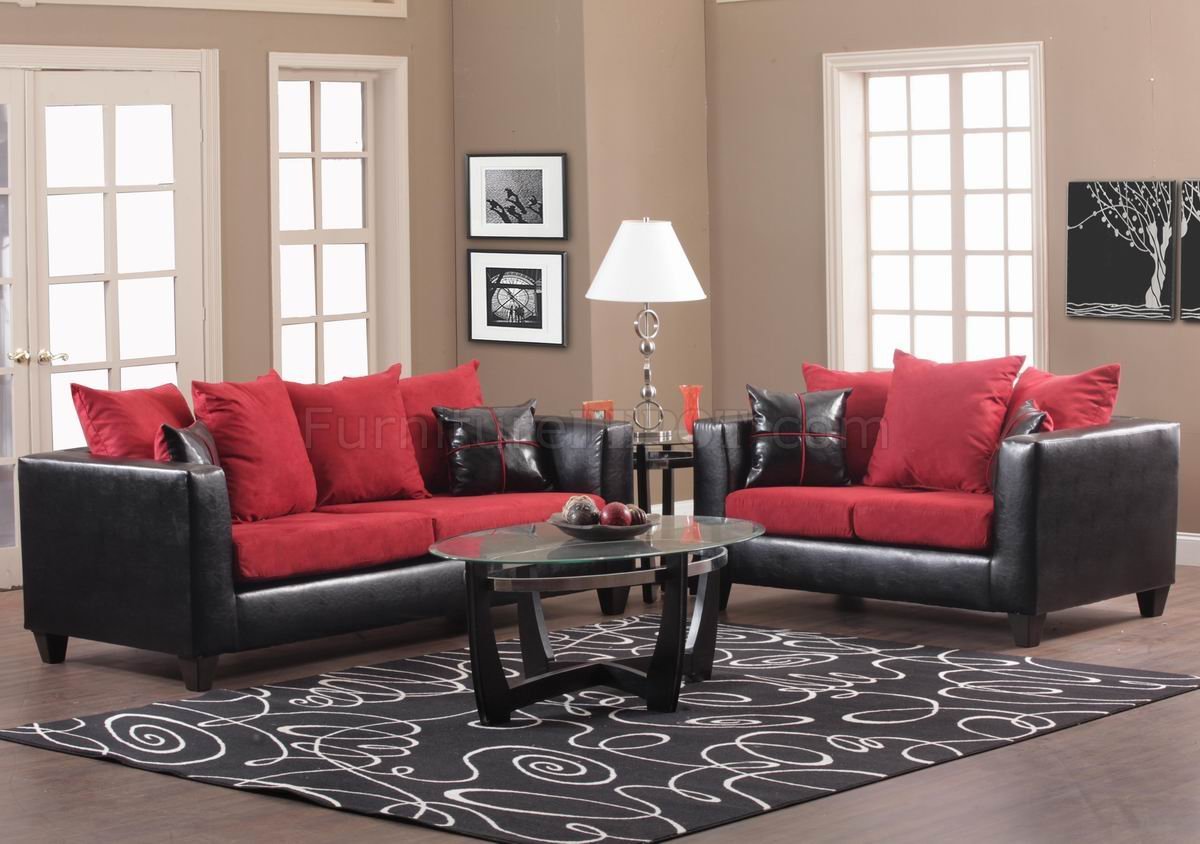 Red Fabric and Black Vinyl Modern Sofa & Loveseat Set w/Options