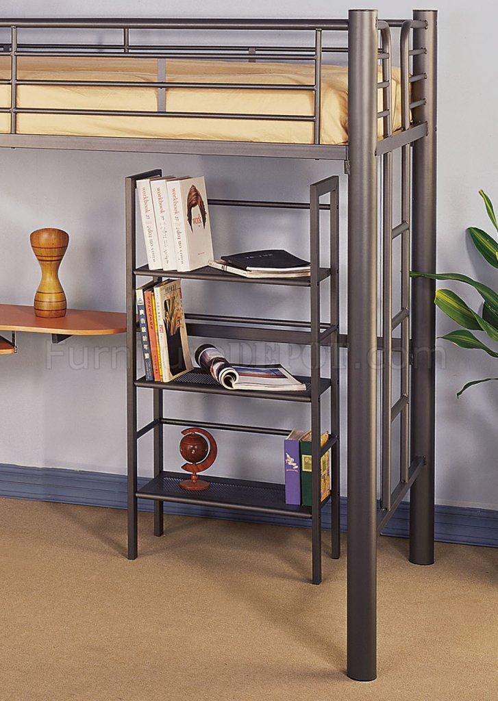 siver metal contemporary twin loft bed w desk bookcase hlbs s105