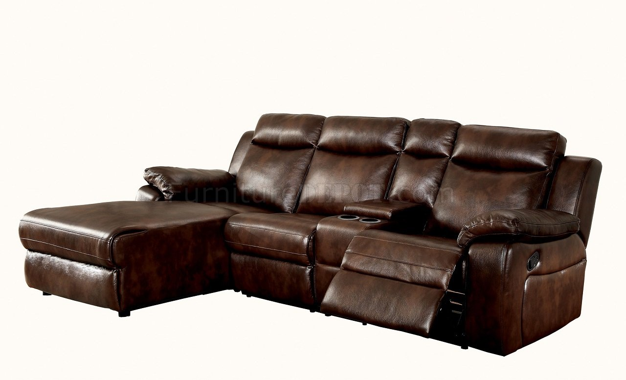 Hardy Cm6781br Reclining Sectional Sofa In Brown Leatherette
