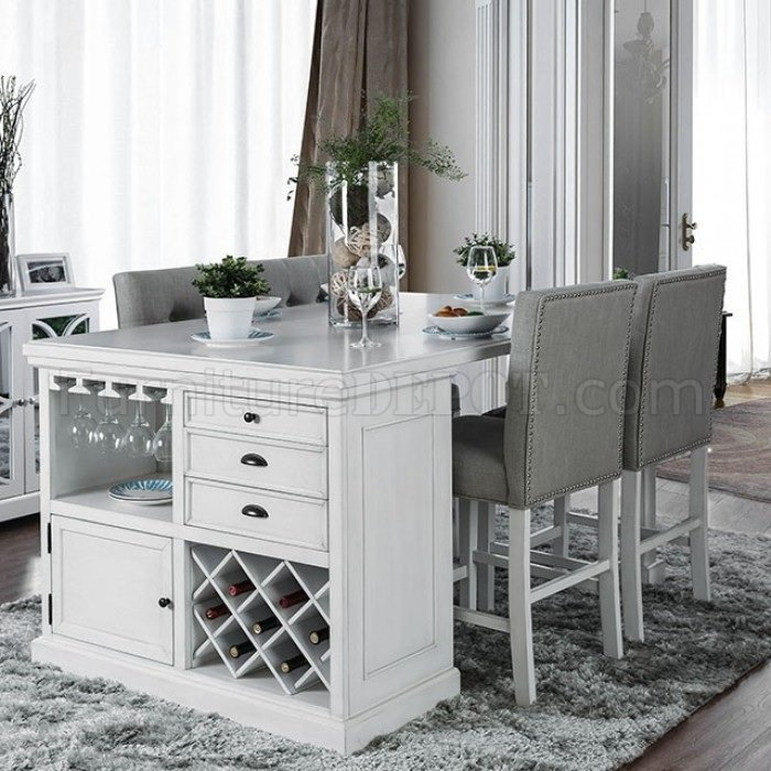 Sutton Counter Ht Dining Table Cm3390pt In Antique White