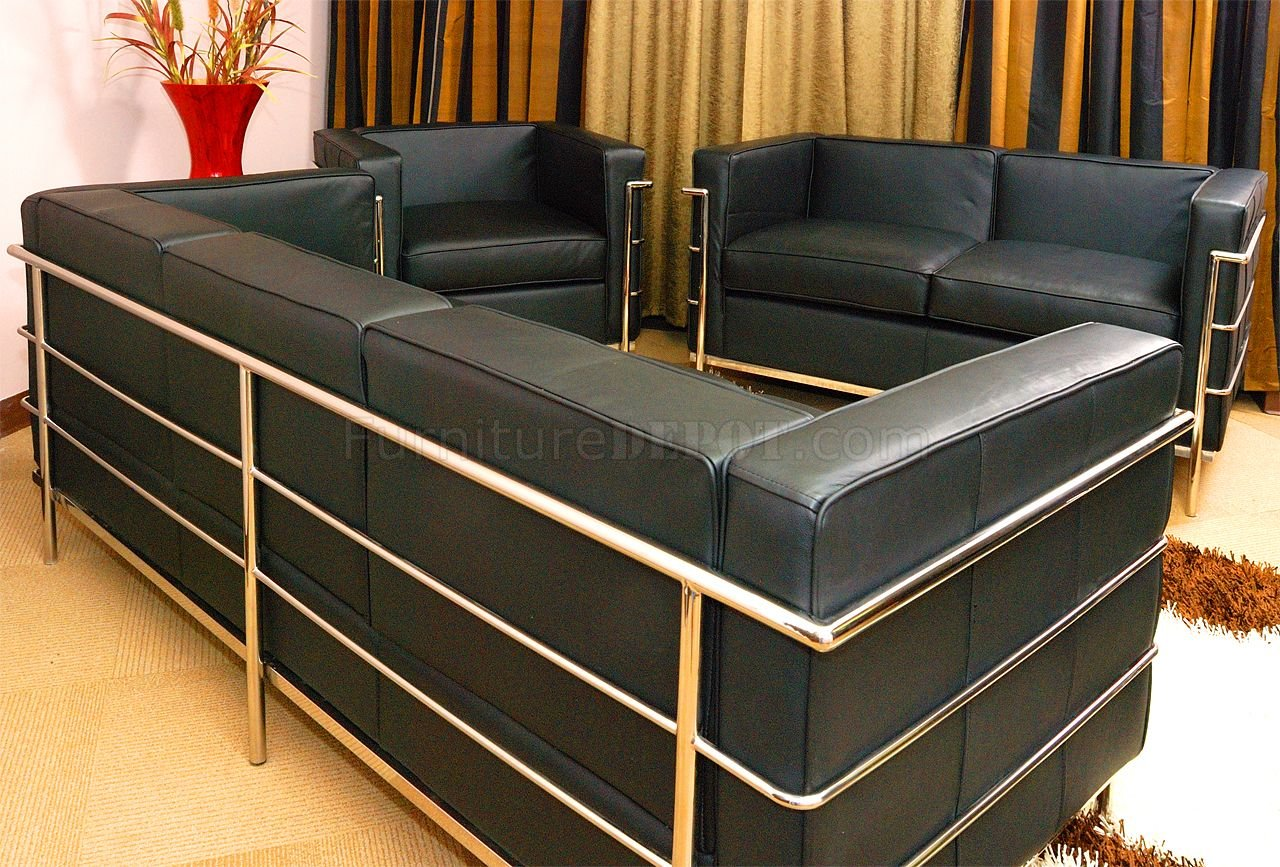 le corbusier style grande sofa loveseat chair set in black. Black Bedroom Furniture Sets. Home Design Ideas