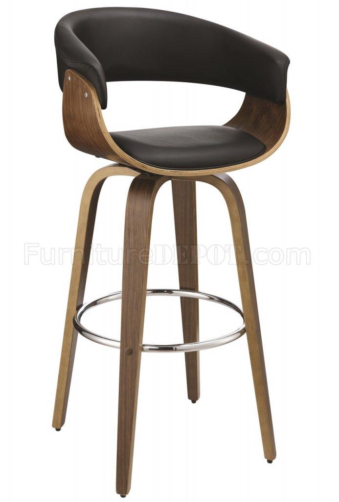 100205 Swivel Bar Stool Set Of 2 In Black Walnut By Coaster