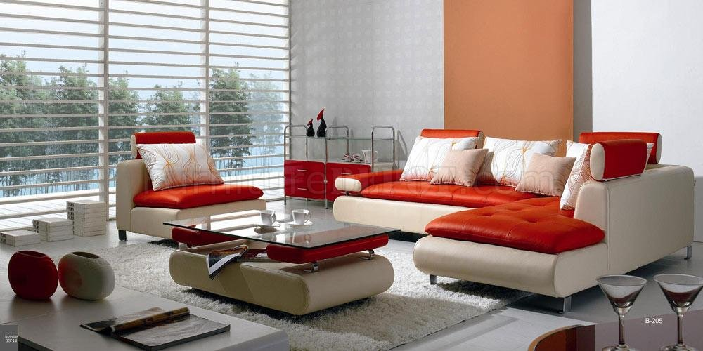 Red & White Leather Modern Sectional Sofa w/Chair & Coffee Table