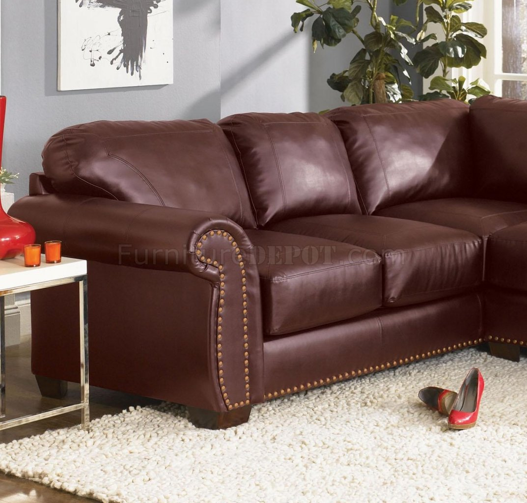 Beau Burgundy Or Black Bonded Leather Classic Sectional Sofa