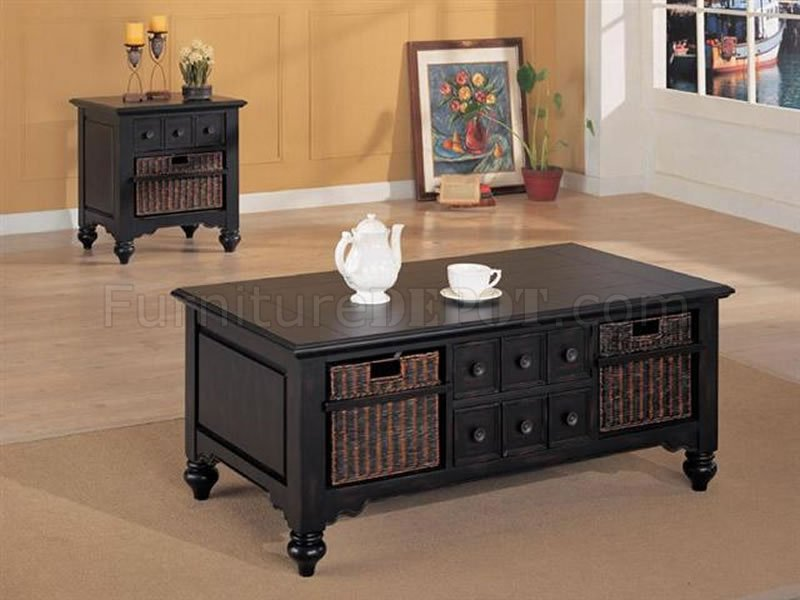 Black classic coffee table with sea grass baskets Coffee table baskets