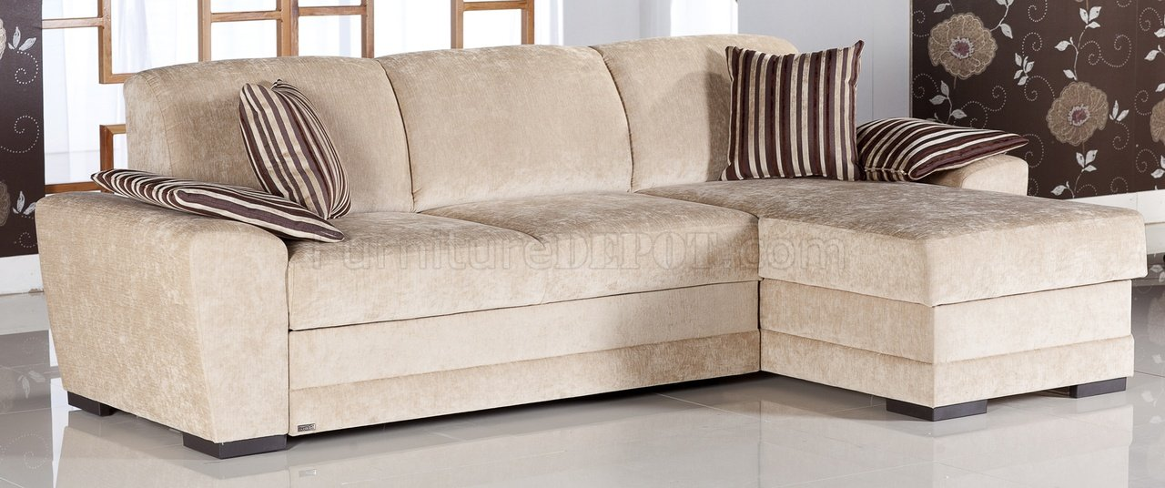 Cream fabric modern sectional sofa w storage space Cream fabric sofa