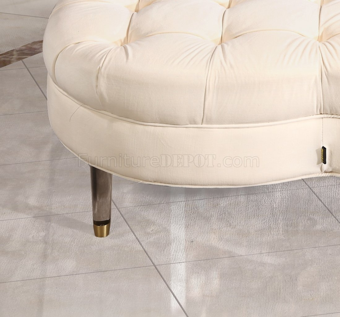 Lucky Clover Ottoman Coffee Table In Ivory Fabric