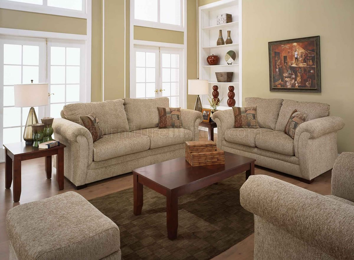 Sand Fabric Casual Living Room Sofa & Loveseat Set w/Rolled Arms