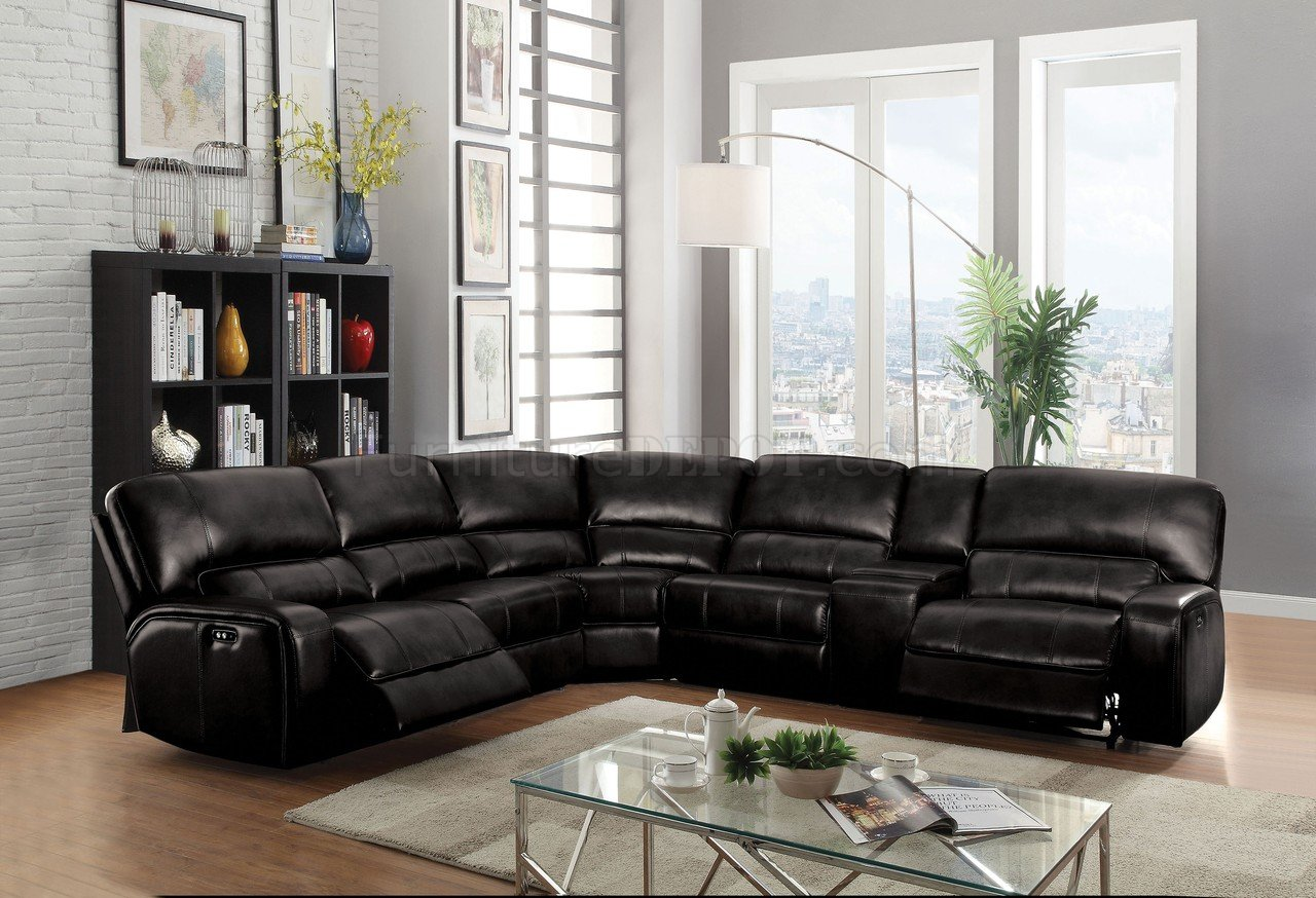 Contemporary Bedroom Set London Black By Acme Furniture: Saul Power Motion Sofa 54150 In Black Leather-Aire By Acme