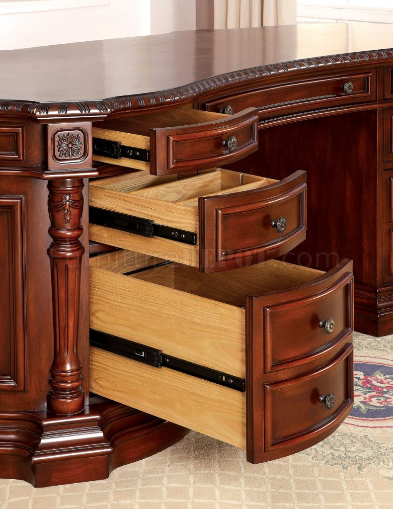 Warm Cherry Executive Desk Home Office Collection: Roosevelt CM-DK6252OD Oval Office Desk In Cherry W/Options