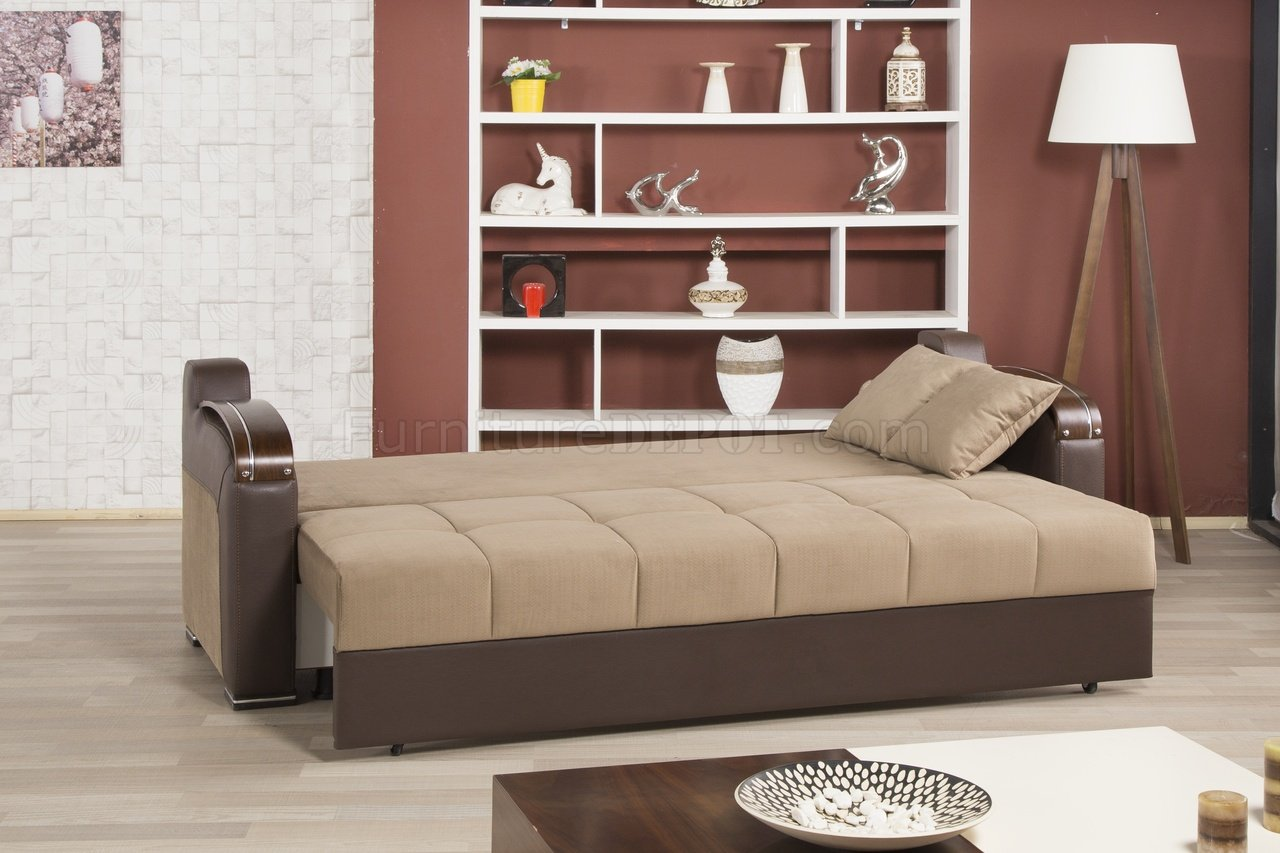 Divan Deluxe Signature Sofa Bed In Dark Beige Fabric By
