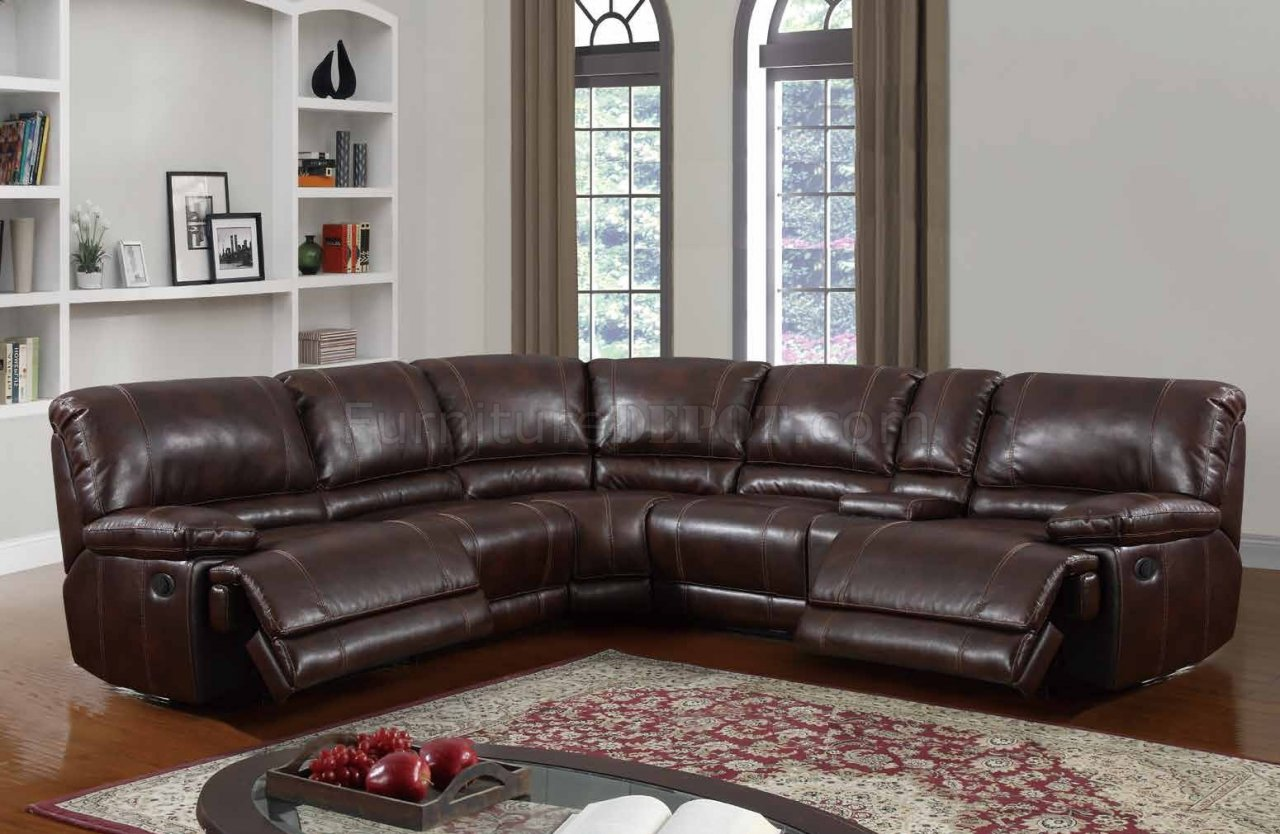 U1953 Power Motion Sectional Sofa Brown Bonded Leather by Global