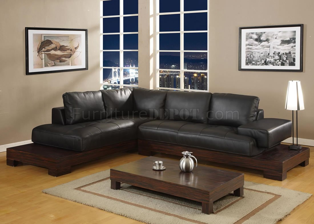 Manhattan Sectional Sofa Leather Black Zebrano Platform