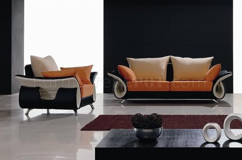 Multi Tone Color Fabric Ultra Modern Sofa Chair Set