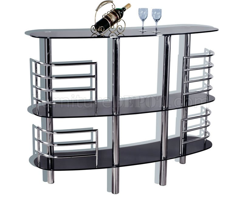Contemporary Bar Table With Tinted Glass Top