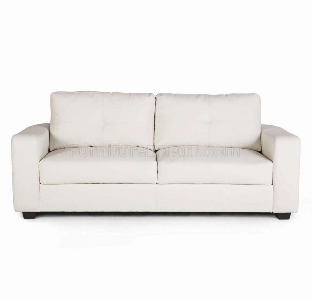 White bonded leather match modern sofa loveseat set w for Modern loveseat