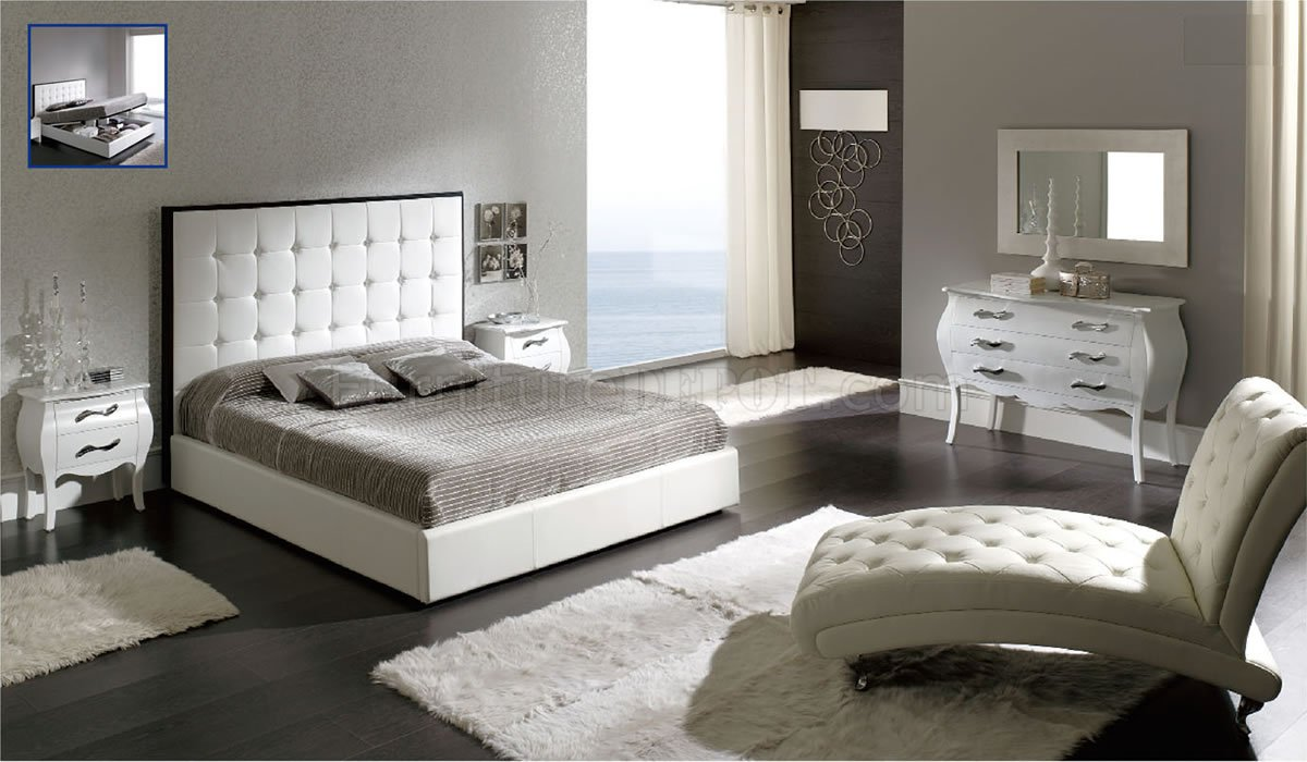Penelope White Bedroom By ESF WTufted Leather Headboard