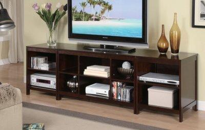 Dark Espresso Finish Modern 3pc Tv Stand W Storage Shelves