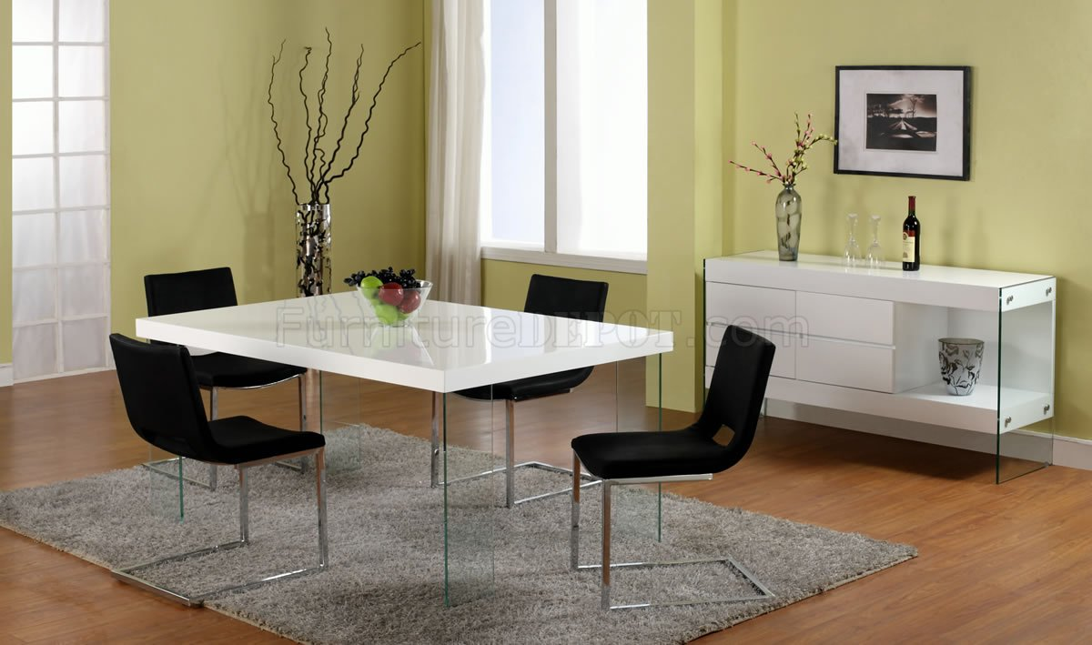 white lacquered dining table w glass legs u0026 optional chairs
