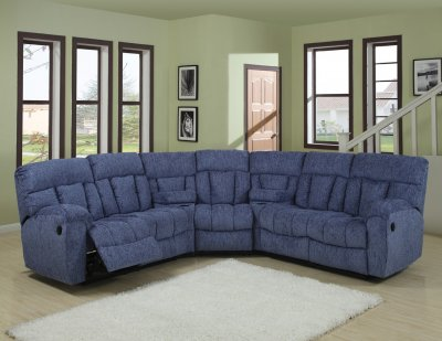 Blue Or Beige Fabric Modern 5pc Reclining Sectional Sofa