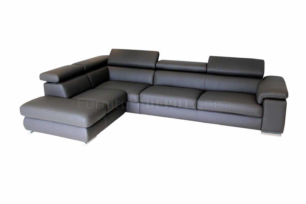 Dark Grey Leather Modern Sectional Sofa W Adjustable Headrests