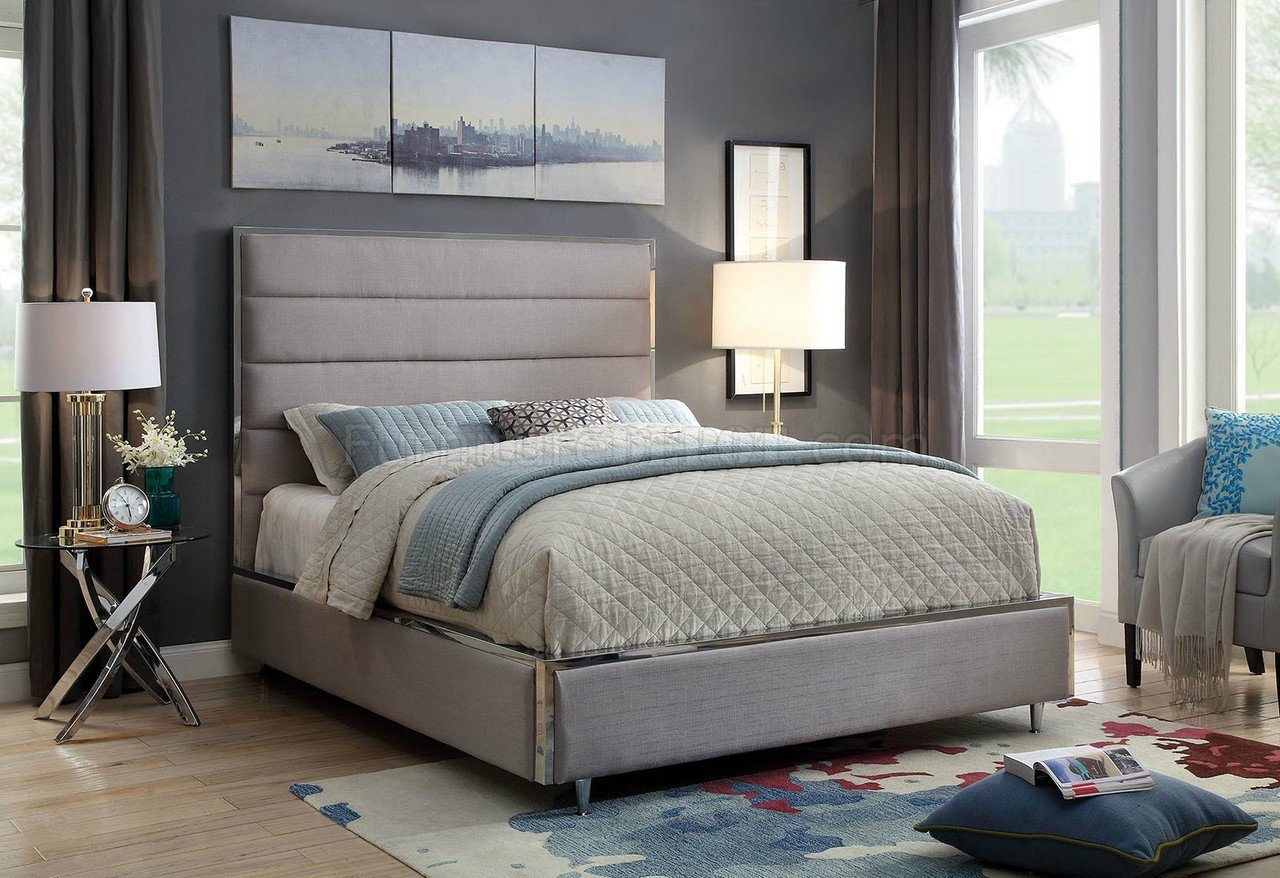 Gillian Bed Cm7262gy In Warm Gray Amp Chrome Accents