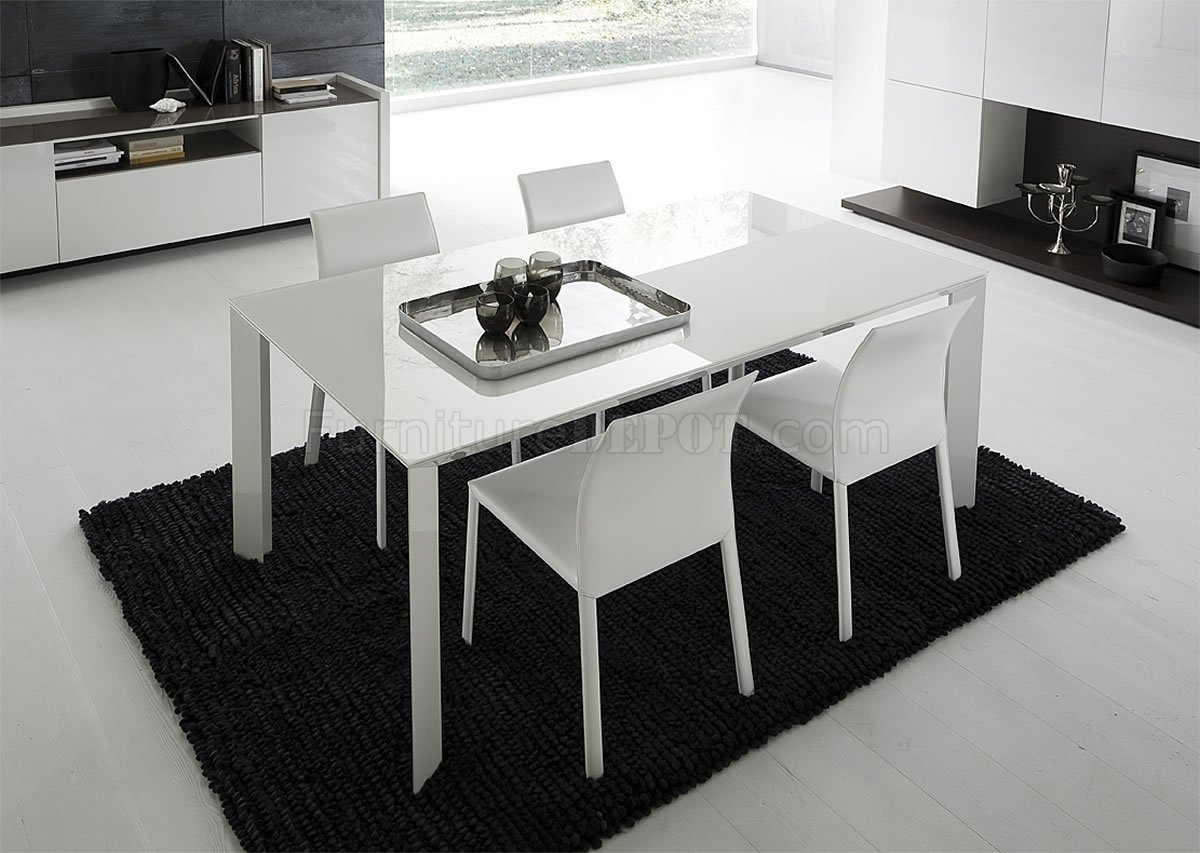 White lacquered glass top modern dining table w optional - White table with glass top ...