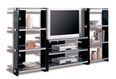 Black Contemporary Tv Stand W Metal Frame Amp Glass Shelves