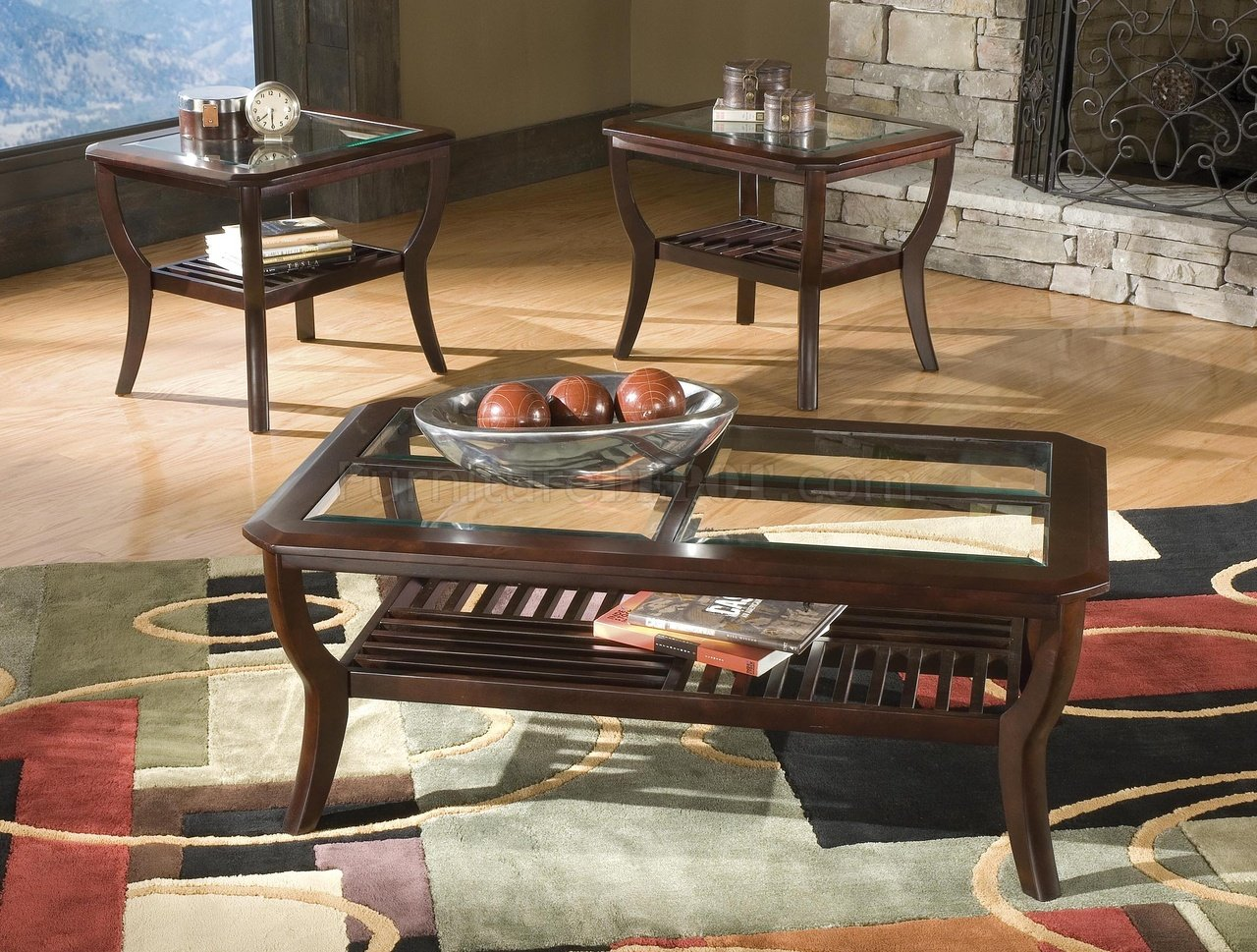 Set Of 3 Glass Tables: Set Of 3 Dark Cherry Modern Coffee & End Tables W/Glass Tops