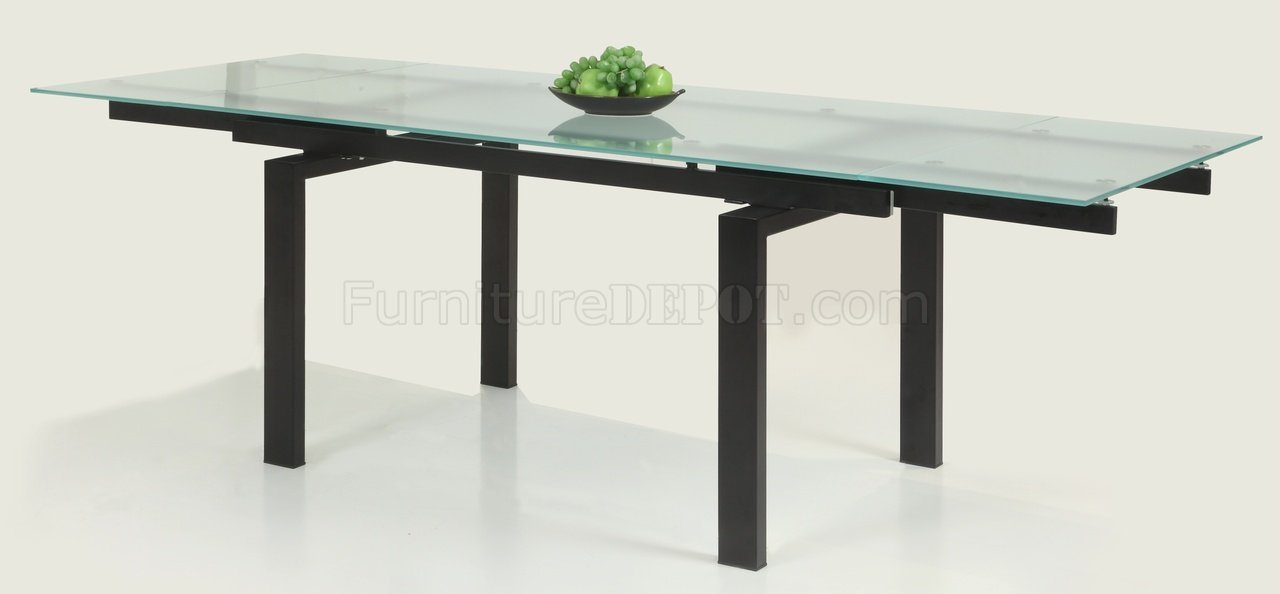 Glass Table Extendable Top Modern Dining Table WOptional Chairs - Glass top extendable dining room table