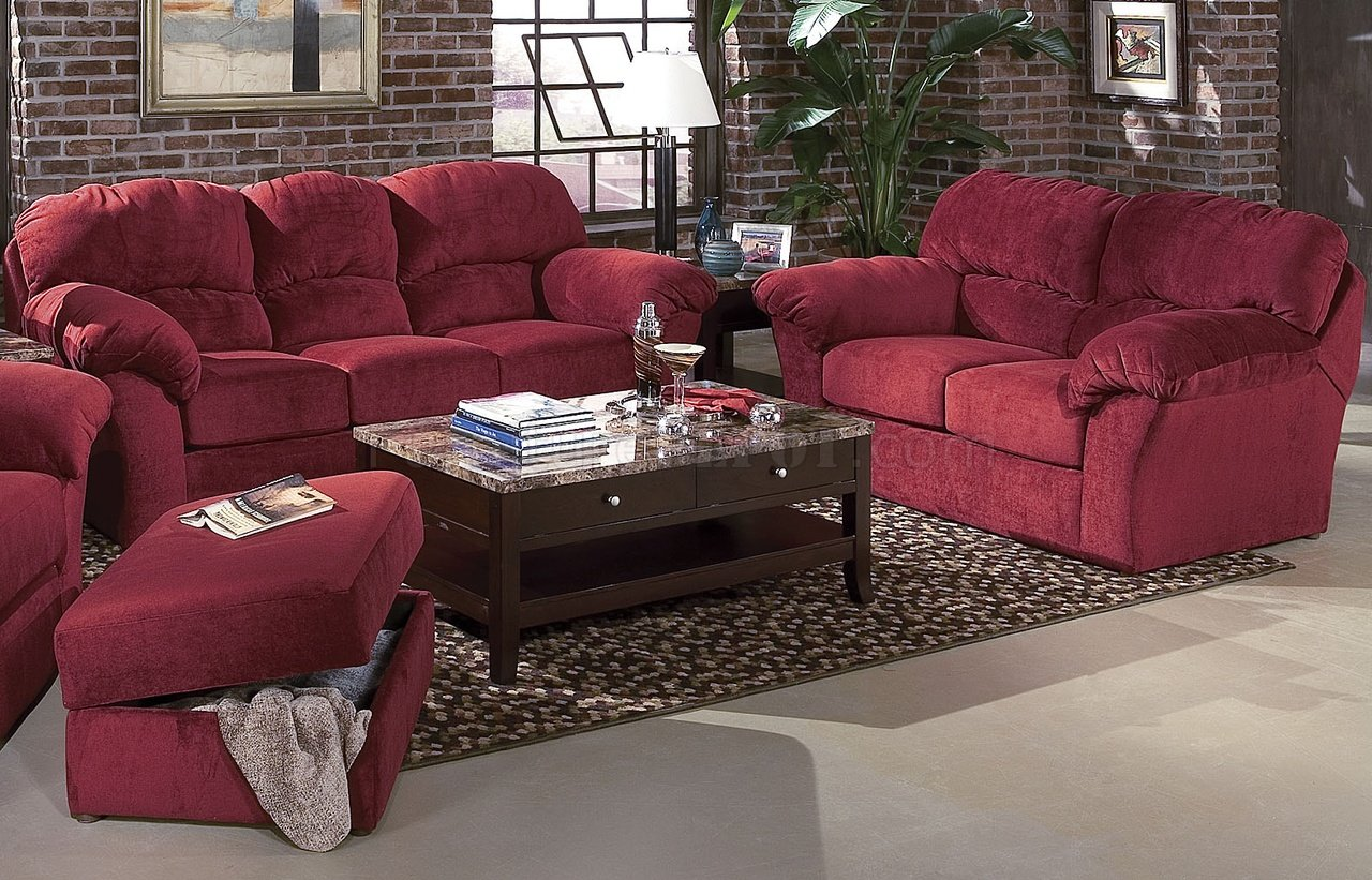 Burgundy fabric transitional living room wsewn on arm pillows