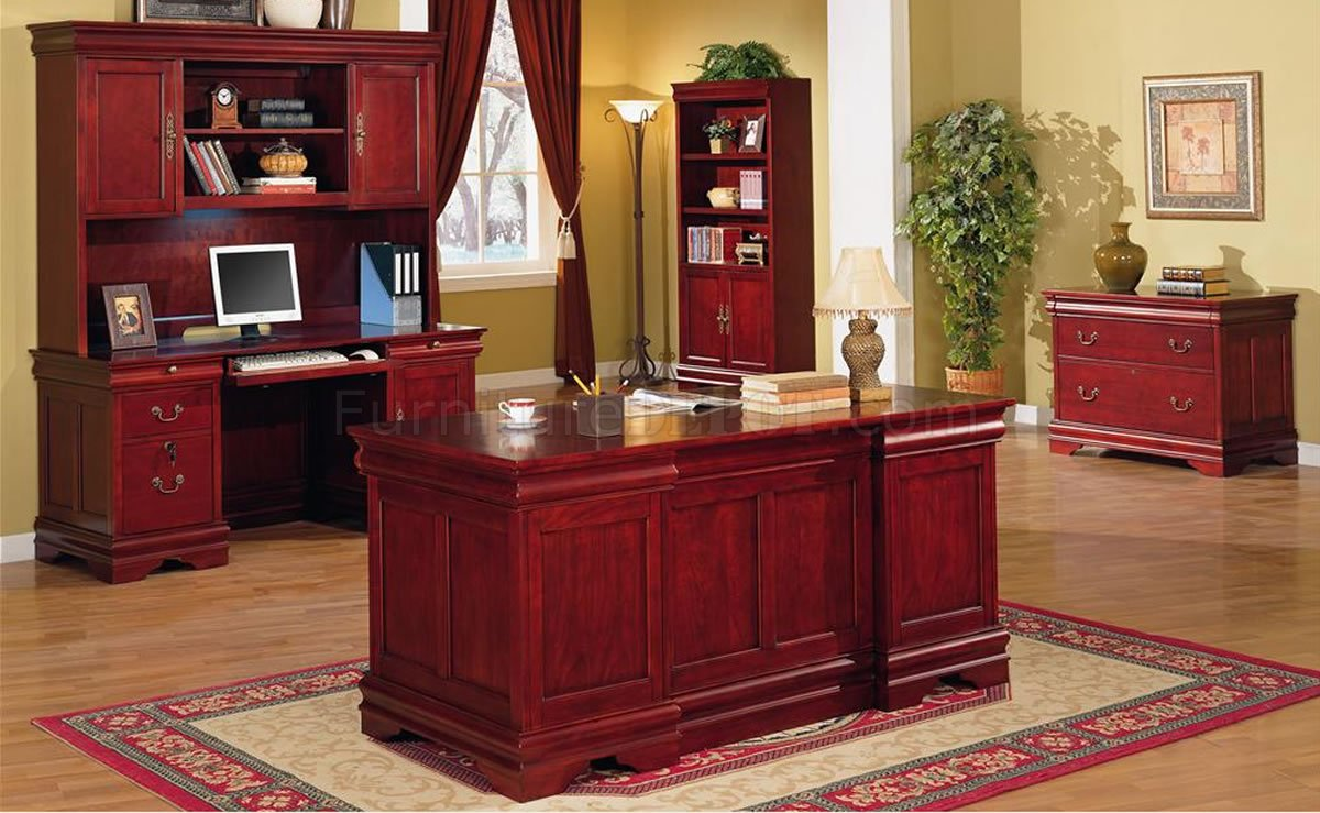 deep cherry classic office desk w/storage drawers