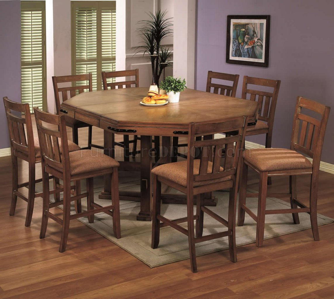 Medium oak finish classic counter height dining set w options for Counter height dining set