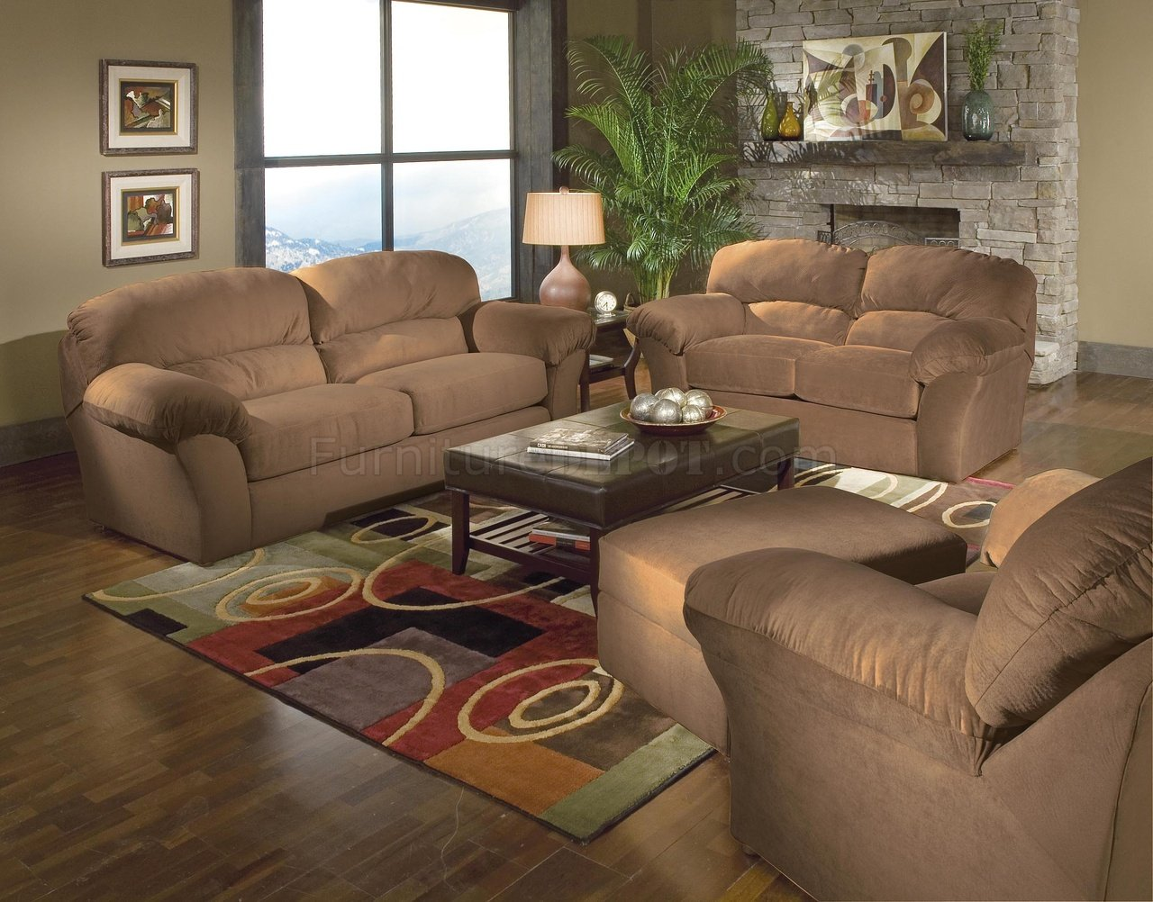 Saddle mircro suede casual living room w sewn on arm pillows for Casual living room chairs