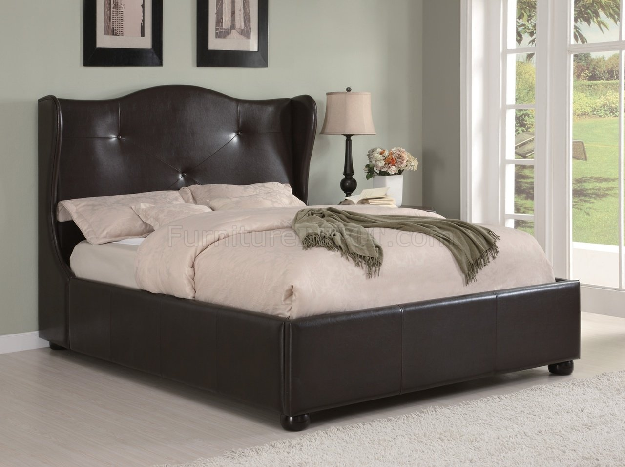 300192 Upholstered Bed By Coaster In Dark Brown Faux Leather