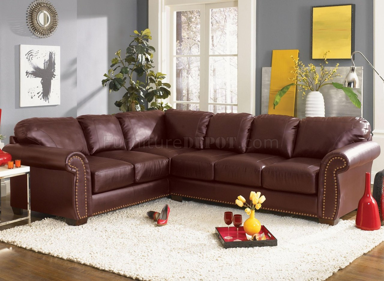 Classic Sectional Sofa Cassidy L190 Burgundy